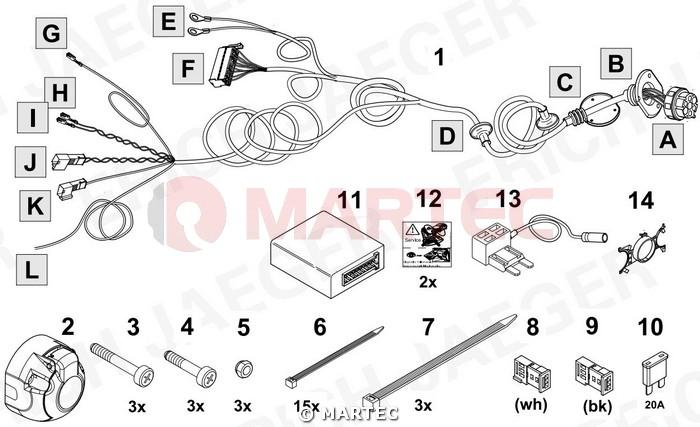 Wiązka dedykowana 7 pin Audi A3 8V Sedan Autohak A33E